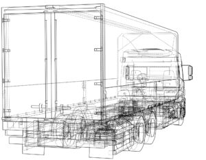 European truck outlined vector rendering of 3d. The layers of visible and invisible lines are separated